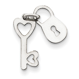 clearance item 14k white gold lock and key charm pendant